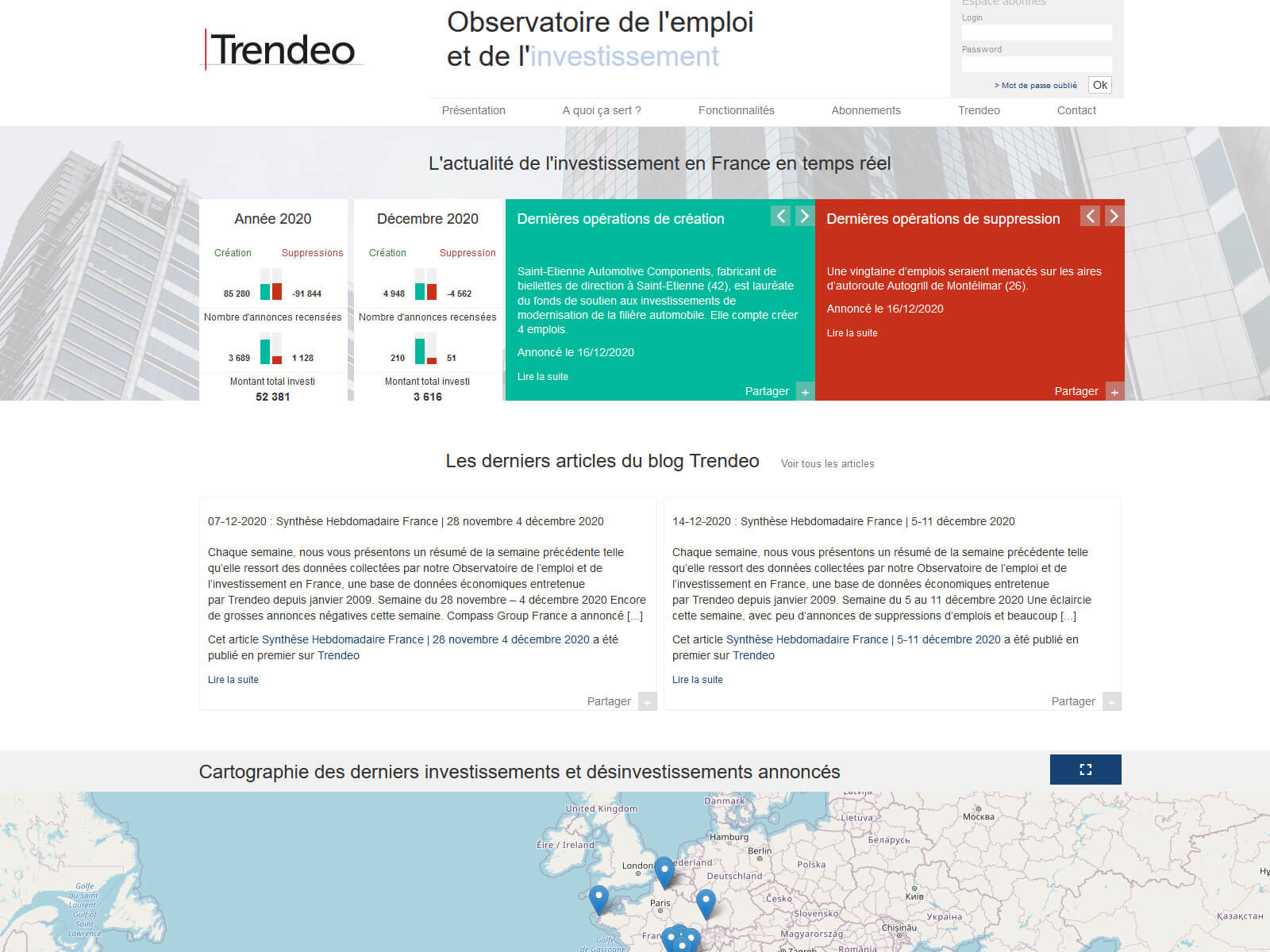Accueil de l'applicatif Trendeo, l'observatoire de l'emploi et de l'investissement