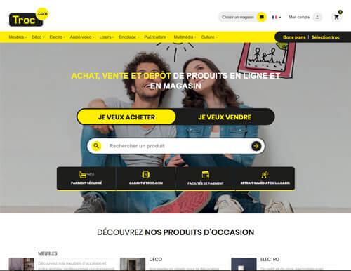 Détails de l'accueil de la première version du site Internet troc.com