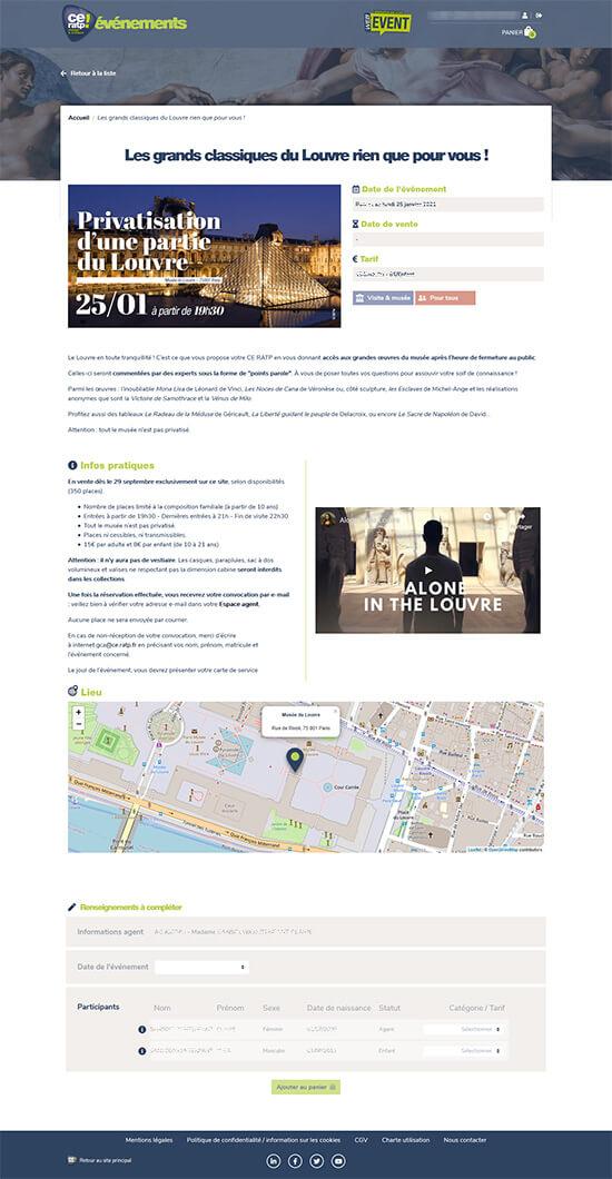 Détails de la fiche produit du site de billetterie événementielle du CE RATP