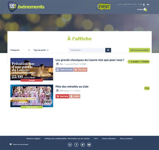 Détail de la liste des produits du site de billetterie du CE RATP