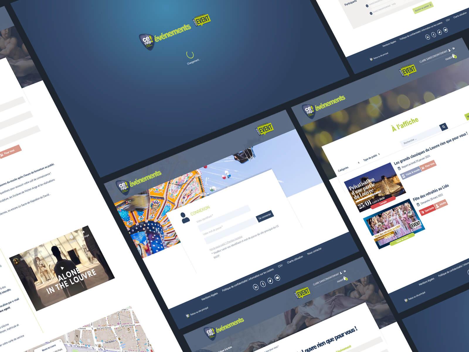 Détails des écrans de la billetterie événementielle du CE RATP