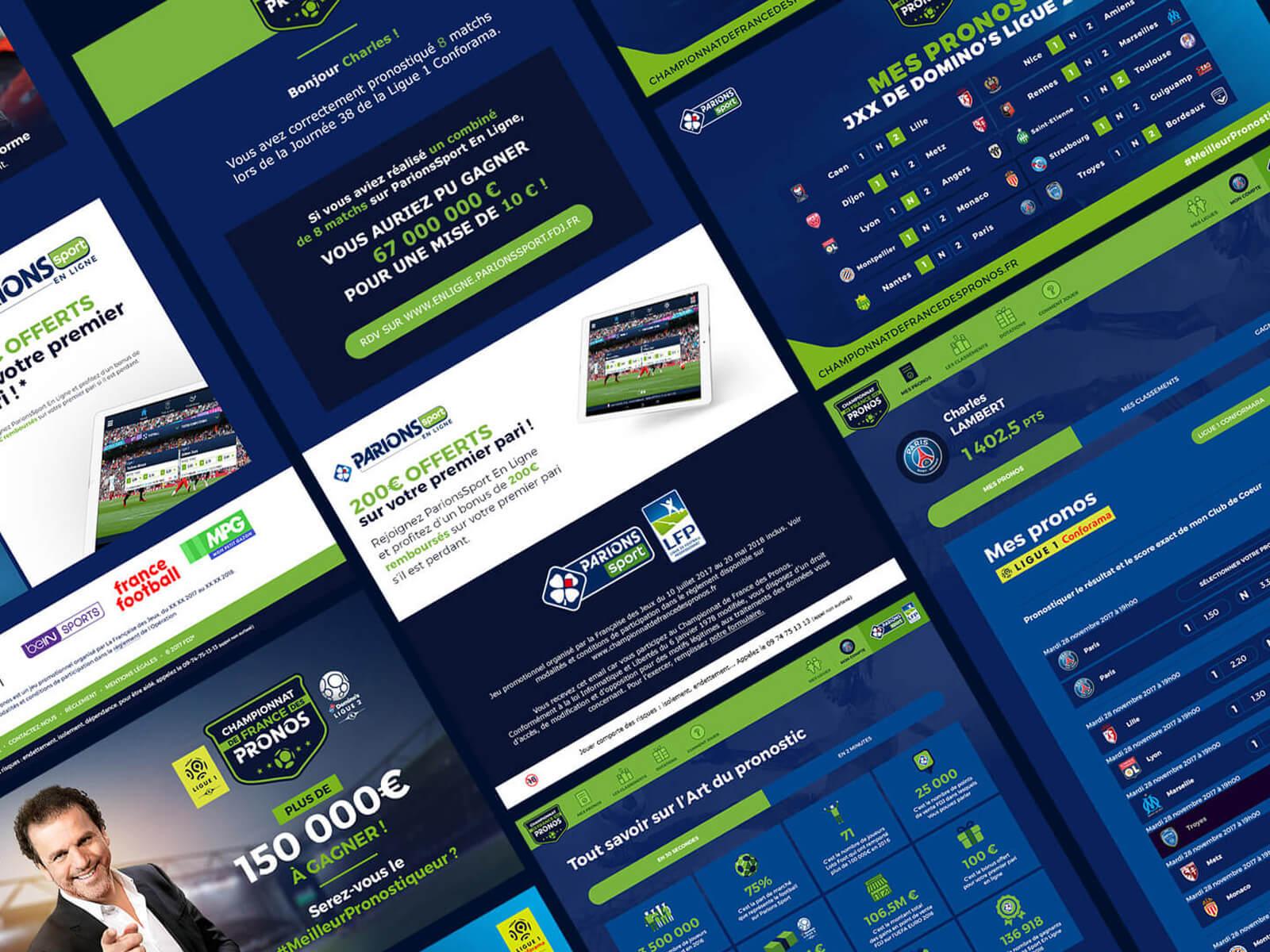 Détails des écrans de la plateforme de pronostics en ligne pour FDJ