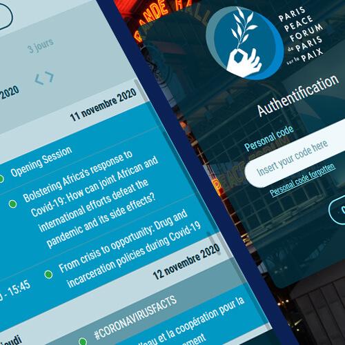 Détails des interfaces mobiles pour le Paris Peace Forum 2020, une plateforme développée par Mediactive