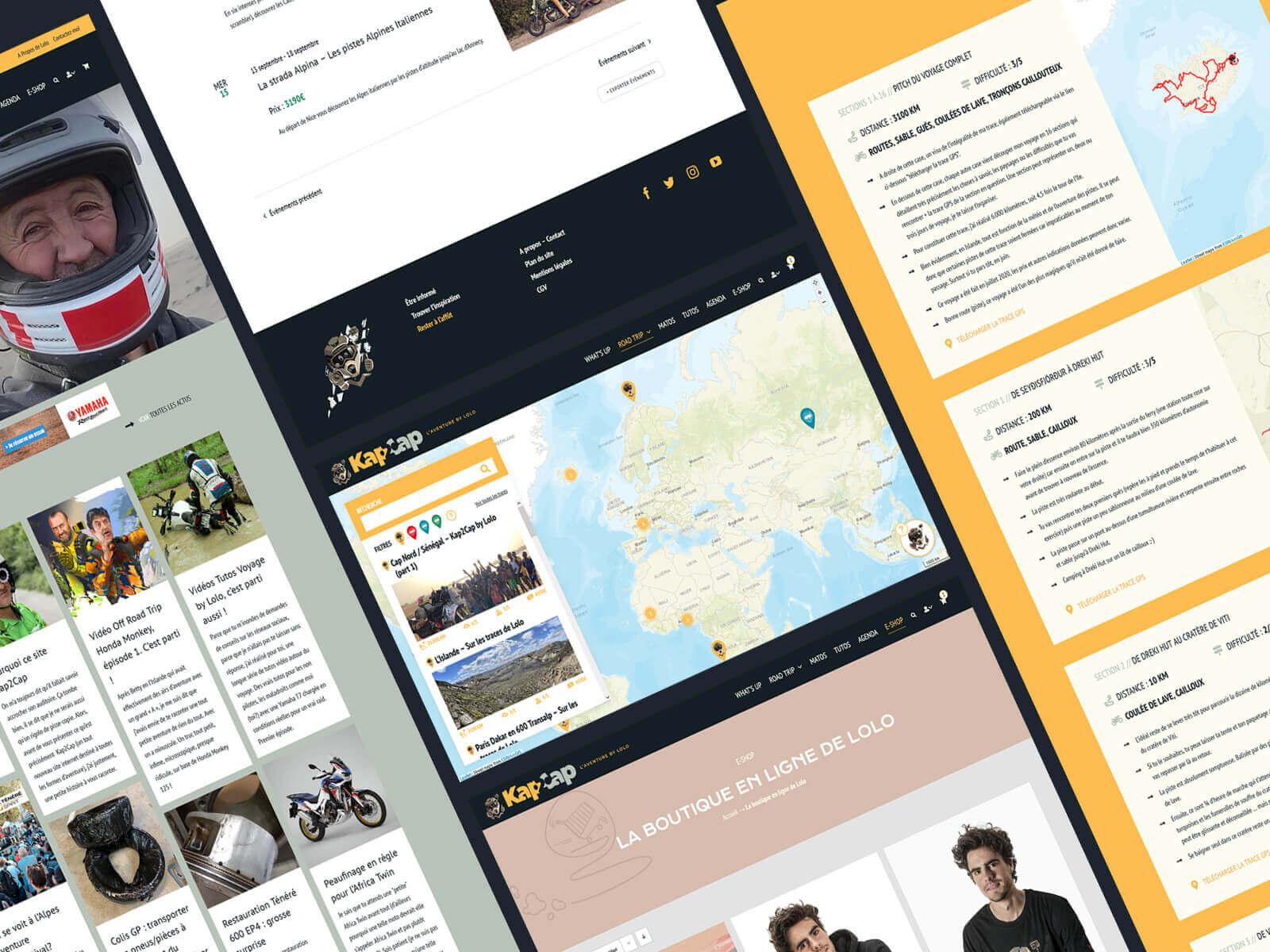 L'agence a déployé un site internet, Kap2Cap by Lolo pour Laurent Cochet : itinéraire de voyage, e-shop, matos, tutos et agenda autour de la moto.